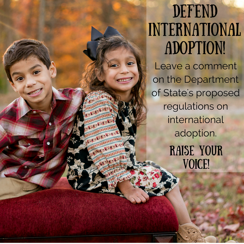 Defend international adoption! Raise your voice on behalf of families, children and agencies who will be negatively affected by these proposed regulations!