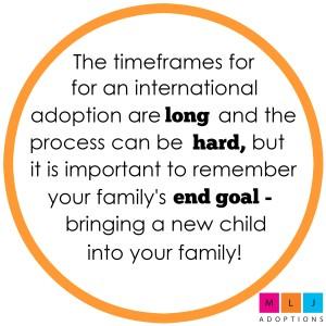 The short answer is that the timeline for an international adoption can vary greatly depending on the country a family chooses to adopt from and the characteristics of the child that the family is hoping to adopt.